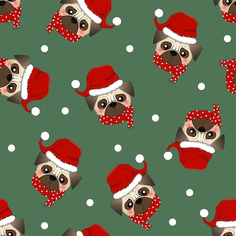 Pug santa claus dog with red scarf on green background