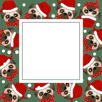 Pug santa claus dog with red scarf on green banner card