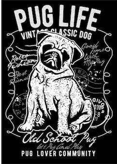 Pug, vintage illustration poster.