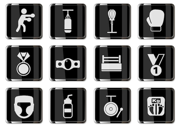 Pugilism pictograms in black chrome buttons. icon set for your design. vector icons