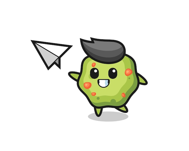 Puke cartoon character throwing paper airplane , cute style design for t shirt, sticker, logo element