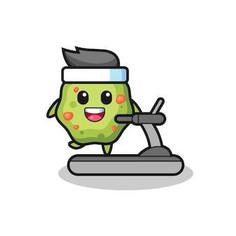 Puke cartoon character walking on the treadmill , cute style design for t shirt, sticker, logo element