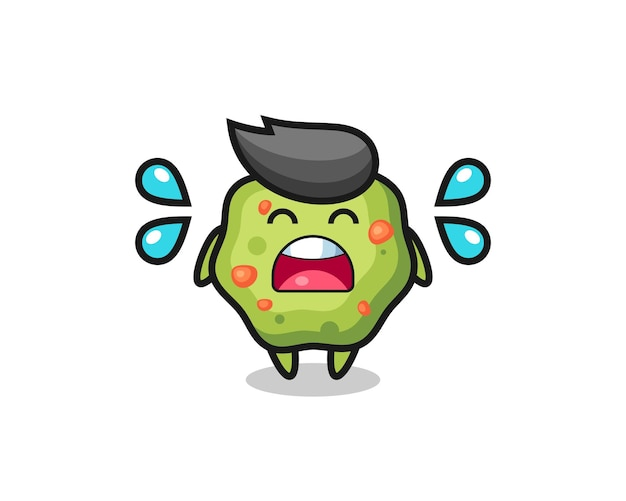 Puke cartoon illustration with crying gesture , cute style design for t shirt, sticker, logo element