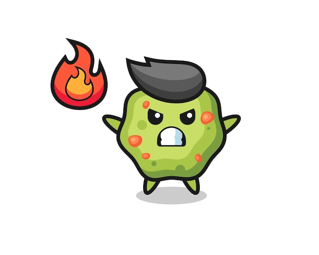 Puke character cartoon with angry gesture , cute style design for t shirt, sticker, logo element