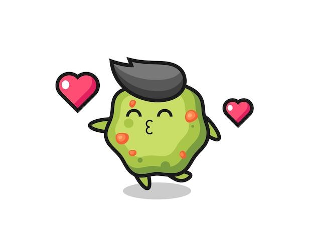 키스 제스처가 있는 토하는 캐릭터 만화, 티셔츠, 스티커, 로고 요소를 위한 귀여운 스타일 디자인