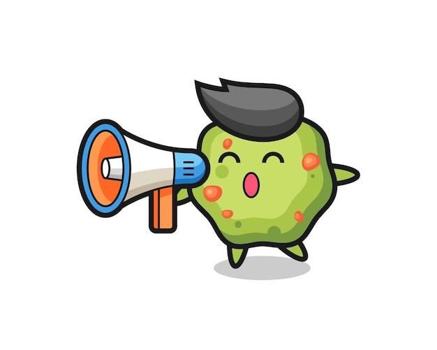 Иллюстрация персонажа puke, держащая мегафон, милый стильный дизайн для футболки, стикер, элемент логотипа