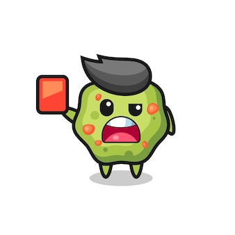 Puke cute mascot as referee giving a red card , cute style design for t shirt, sticker, logo element
