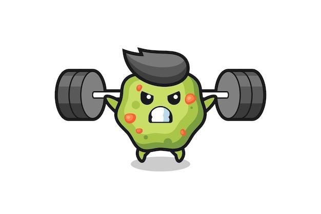 Puke mascot cartoon with a barbell , cute style design for t shirt, sticker, logo element