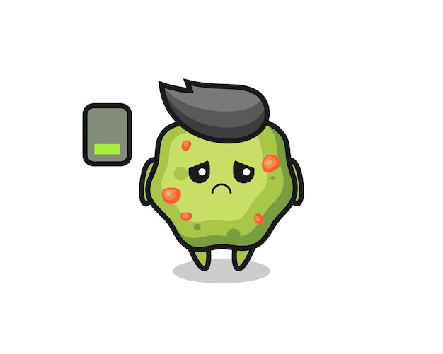 Puke mascot character doing a tired gesture , cute style design for t shirt, sticker, logo element