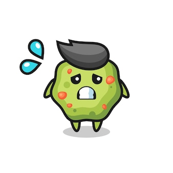 Puke mascot character with afraid gesture , cute style design for t shirt, sticker, logo element