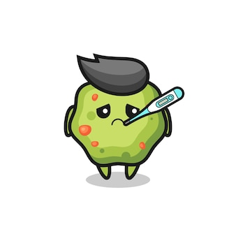 Puke mascot character with fever condition , cute style design for t shirt, sticker, logo element