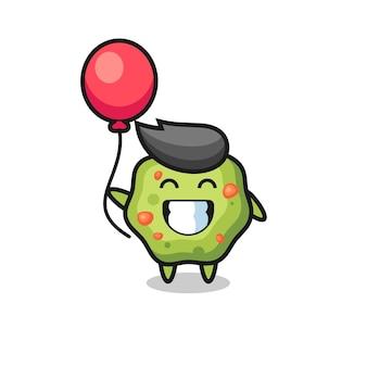 Иллюстрация талисмана рвоты играет на воздушном шаре, милый стиль дизайна для футболки, наклейки, элемента логотипа