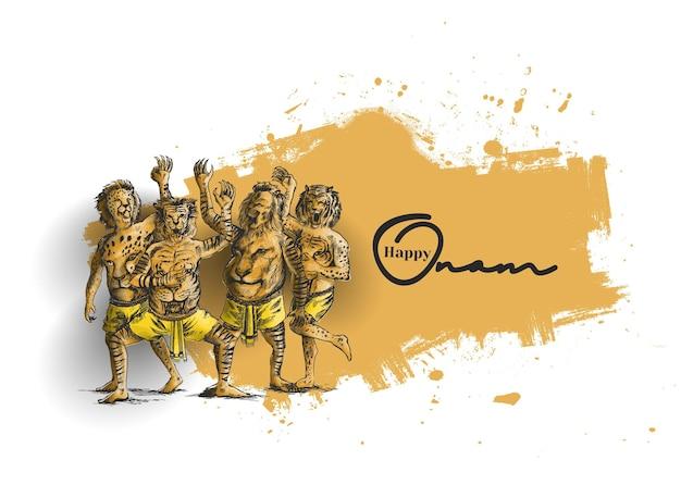 오남 기념 스케치를 위한 풀리칼리 호랑이춤