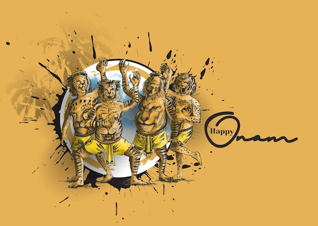Puli kali tiger dance for onam celebration hand drawn sketch vector illustration