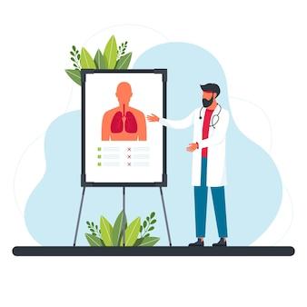 호흡기 전문의가 폐를 검사합니다. 건강한 호흡계인 폐학의 개념. 폐에 대한 정보를 제공하는 의료 전문가. 의사, 강의, 호흡 평면 벡터 일러스트 레이 션
