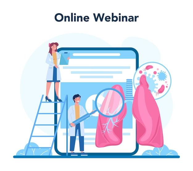 Pulmonologist online service or platform set. idea of health and medical treatment. healthy pulmonary system. online webinar. isolated vector illustration
