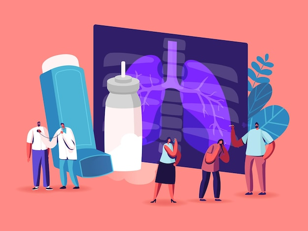 Pulmonology, asthma disease concept. tiny characters at huge lungs xray and inhaler, respiratory system examination and treatment. internal organ inspection checkup. cartoon people vector illustration