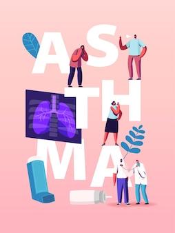 Pulmonology and asthma disease illustration