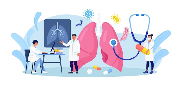 呼吸器学の概念。医師のグループは、コロナウイルスの影響を受けた肺を検査します。医師の診察呼吸器系、肺疾患の治療。線維症、結核、肺炎、癌