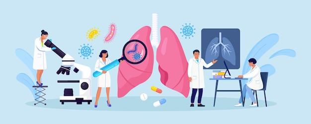 Концепция пульмонологии. группа врачей проверяет легкие, пораженные коронавирусом. доктор осмотр дыхательной системы, лечение заболеваний легких. фиброз, туберкулез, пневмония, рак