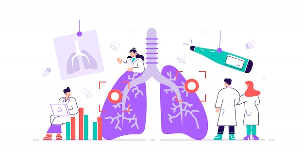 Pulmonology concept. lungs healthcare persons. internal organ inspection check for illness, disease or problems. abstract respiratory system examination and treatment. flat tiny  illustration