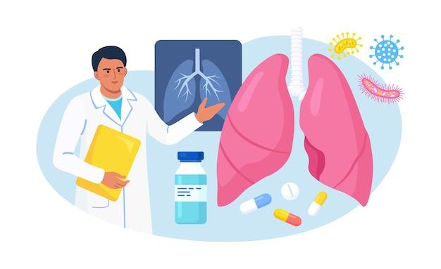 호흡기학. 폐를 검사하는 의사. 결핵, 폐렴, 폐암 치료 또는 진단. 호흡기 질환, 질병 또는 문제에 대한 내부 장기 검사