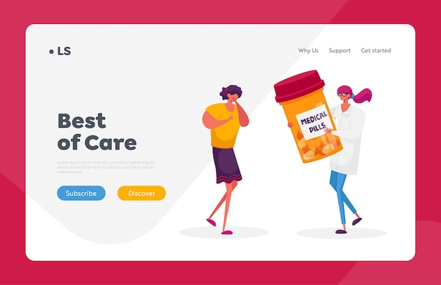 Pulmonology healthcare and treatment landing page template. woman with diseased lungs cough, doctor character give medicine to patient with tuberculosis problems. cartoon people