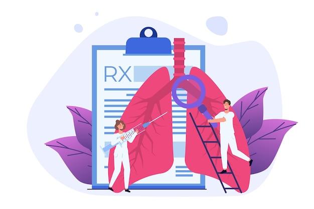 呼吸器学または肺のイラスト。小さな医者が人間の肺をチェックします。