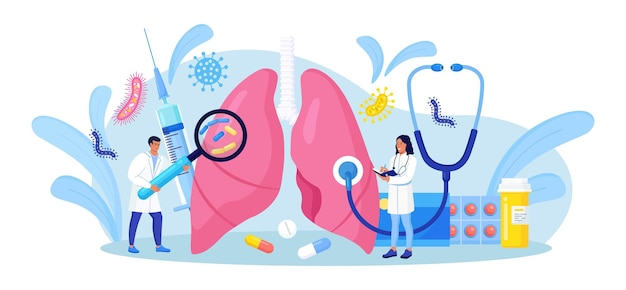 호흡기학. 폐를 검사하는 작은 의사. 결핵, 폐렴, 폐암 치료 또는 진단. 호흡기 질환, 질병 또는 문제에 대한 내부 장기 검사