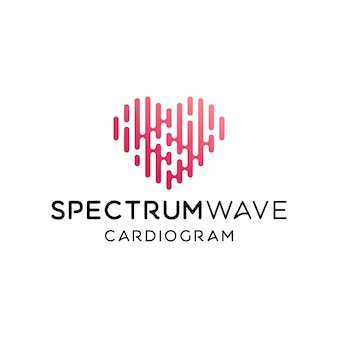 Pulse heart beat cardiogram initial letter s for spectrum logo design