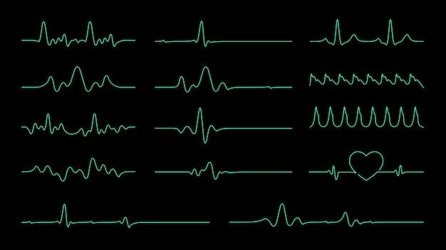 Векторная коллекция pulse line для элемента о частоте сердечных сокращений и кардиограмма монитора.