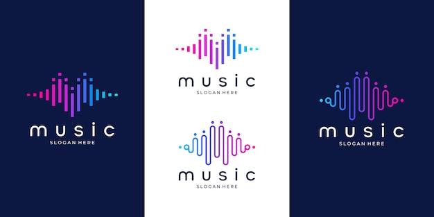 パルス音楽プレーヤーのロゴ要素。ロゴテンプレート電子音楽、イコライザー、ストア、オーディオ波のロゴのコンセプト。