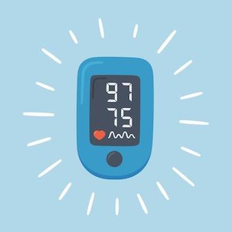 정상 값을 가진 맥박 산소 농도 체. 산소 포화도를 측정하는 디지털 장치.