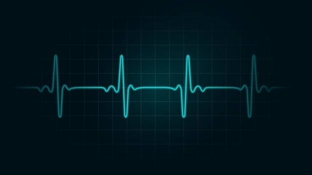 Pulse rate line on green chart background of monitor. illustration about heart rate and cardiogram monitor.