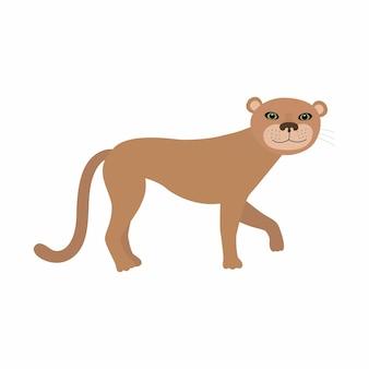 ピューマクーガーまたはマウンテンライオン。白い背景で隔離のベクトルイラスト。 eps10。