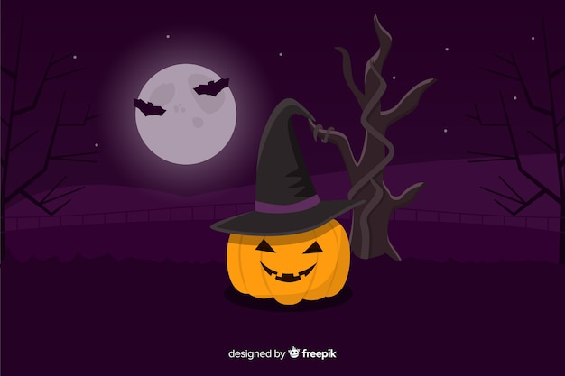 Pumkin halloween background with flat design