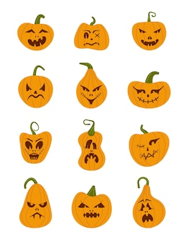 Pumkin scary halloween face vector set