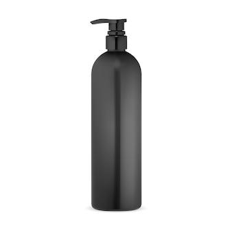 ポンプボトル化粧品ローションモックアップ黒プラスチックパッケージ石鹸またはボディジェル容器 Premiumベクター
