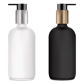 Pump bottle for cosmetic serum, black and white mockup clear glass bottles with plastic dispenser for cream, gel or liquid soap. foundation base cosmetics container