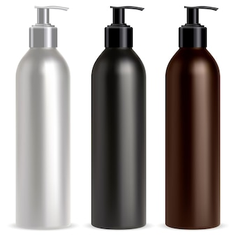 Pump bottle dispenser cosmetic shampoo mockup black, white and brown realistic pump dispenser container