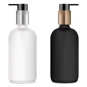 화장품 세럼, 흑백 모형을위한 펌프 병 크림, 젤 또는 액체 비누 용 플라스틱 디스펜서가있는 투명 유리 병. 파운데이션베이스 화장품 용기