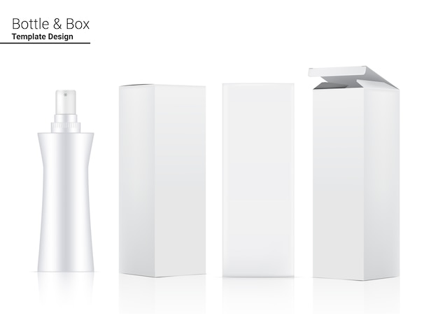 Бутылка с насосом, реалистичная косметика и трехмерная коробка.