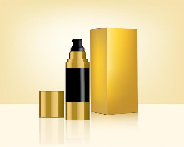 Pump bottle реалистичная золотая косметика и коробка для ухода за кожей иллюстрация продукта. здравоохранение и медицина.