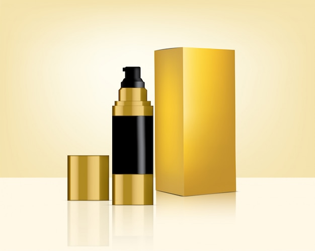 Pump bottle  realistic gold cosmetic and box for skincare product  illustration. health care and medical  .