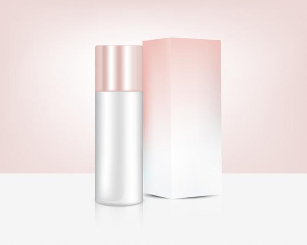 Насос бутылка реалистичная розовое золото духи мыло косметика и коробка для ухода за кожей иллюстрация продукта. здравоохранение и медицинская концепция дизайна.