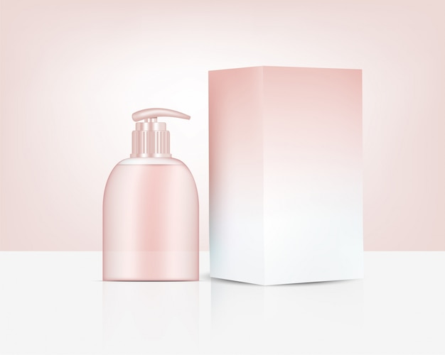 Pump bottle   realistic rose gold perfume soap cosmetic and box for skincare product illustration. health care and medical concept design.