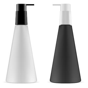 Pump bottle set. cone shape. 3d vector