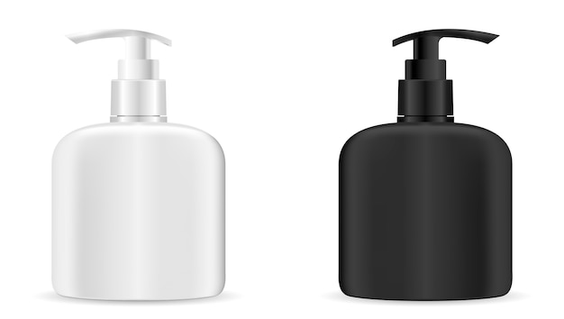 Pump dispenser bottle set. cosmetic vector