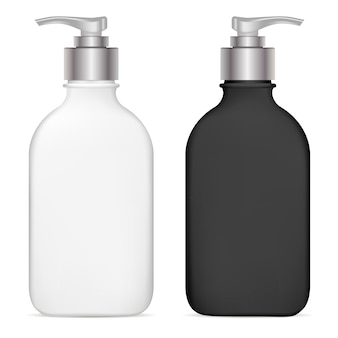 Pump dispenser. plastic cosmetic bottle. isolated