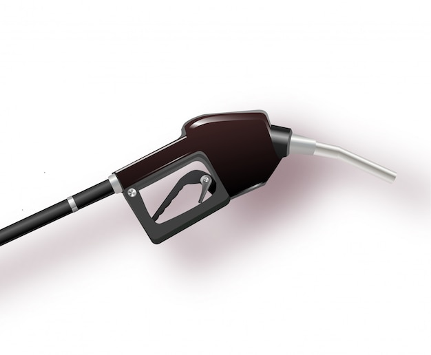 Pump nozzle for refueling gas on white background.